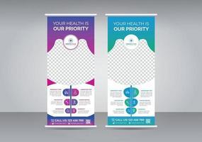 Roll-up-Banner-Design-Vorlagen-Set des Reise- und Tourismusbüros vektor