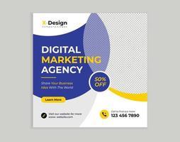 digital affärsmarknadsföringsbyrå marknadsföring sociala medier postmall vektor