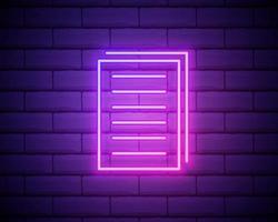 kopiera filer neon ikon. enkel tunn linje, dispositionsvektor av webben, minimalistiska ikoner för ui och ux, webbplats eller mobilapplikation isolerad på tegelvägg vektor