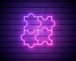 vierteiliges Puzzle-Diagramm Neon-Symbol. einfache dünne Linie, Umrissvektor der Bildungssymbole für UI und UX, Website oder mobile Anwendung. vektor