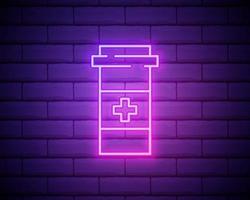 glödande neonlinje medicinflaskikon isolerad på tegelväggbakgrund. flaska piller tecken. apotek design. vektor illustration