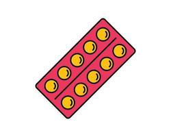 blåsor läkemedelsförpackning ikon. linjär stil tecken för mobila koncept och webbdesign. medicin piller disposition vektor ikon. symbol, logotypillustration. pixel perfekt vektorgrafik