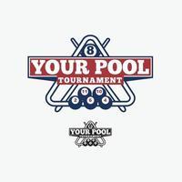 Billardball Pool Logo Design Vektor Vorlage