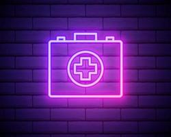 glödande neonlinje första hjälpen-ikonen isolerad på tegelvägg bakgrund. medicinsk låda med kors. medicinsk utrustning för nödsituationer. sjukvårdskoncept. vektor illustration