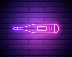 termometer neon ikon. element av måttuppsättning. enkel ikon för webbplatser, webbdesign, mobilapp, informationsgrafik isolerad på tegelvägg vektor
