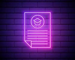 Lebenslauf eines Mitarbeitersymbols. Elemente der Stunden- und Hitzejagd in Neon-Stilikonen. einfaches Symbol für Websites, Webdesign, mobile App, Infografiken isoliert auf Backsteinmauerhintergrund. vektor
