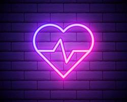 glödande neonmedicinsk konceptskylt med kardiogramdiagram i hjärtform på en tegelväggbakgrund. apotek eller sjukhus lysande reklam skylt. vektor illustration.