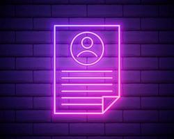 Lebenslauf des Mitarbeitersymbols. Elemente der Stunden- und Hitzejagd in Neon-Stilikonen. einfaches Symbol für Websites, Webdesign, mobile App, Infografiken isoliert auf Backsteinmauerhintergrund. vektor