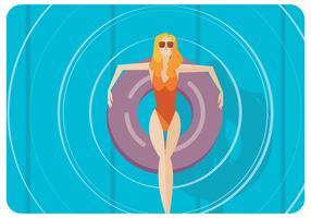 Frau im Swimmig-Pool-Vektor