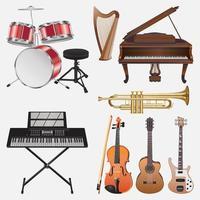 Musikinstrumente Illustration Vektor Design-Vorlagen