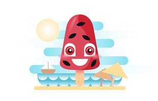 Sommer-Eis am Stiel-freundlicher Wassermelonen-Strand-flacher Illustrations-Vektor