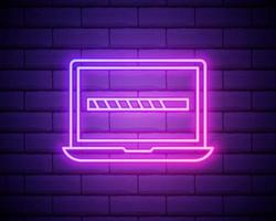 vektor neon bärbar dator med laddningsikon på skärmen, något laddas, teknik isolerad på tegelvägg bakgrundsikon.