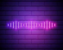 neonsammansättning av digital ljudvåg. vektor abstrakt illustration av neon musik vågform. vågig rörelse glödande linje, pulserande ljudspår. isolerad kontur ikon, symbol. blå rosa lutning isolerad på tegelvägg.