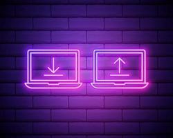 ladda ner och ladda upp radikonen. neonlaserljus. internet nedladdning med laptop tecken. ladda fil-symbol. banner badge med internet nedladdning ikon. vektor isolerad på tegelvägg.