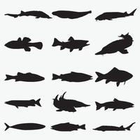 Fischschattenbildvektor-Entwurfsschablonensatz vektor