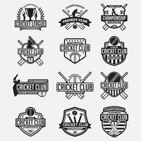 cricket club logotyp emblem vektor designmallar