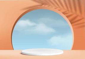 Hintergrundvektor 3d orange Korallenzylinder weißes Podium und minimale Wolkenszene mit verlassen, Holzpodest 3d Rendering, weißes Podium rosa Pastell. Bühnenprodukte Halloween Podium Plattform 3D Himmel Anzeige vektor