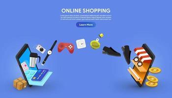 online shopping mellan två smartphones vektor