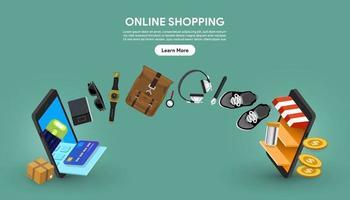 online shopping som händer mellan två smartphones vektor
