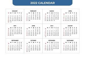 2022 Kalendervorlage vektor