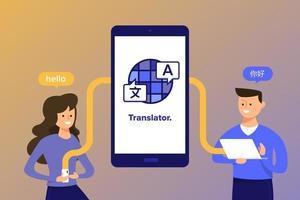 Menschen, die Sprachübersetzungs-App verwenden vektor