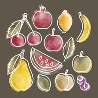Vektor Handdragen Set Frukt