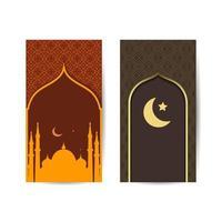 ramadan kareem med utsikt över moskén på en glittrande månenatt. islamisk bakgrundsbanner vektor