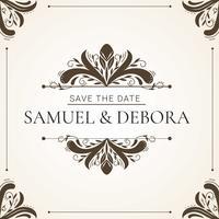 Bröllopsinbjudan med dekorativ elementvektor vektor