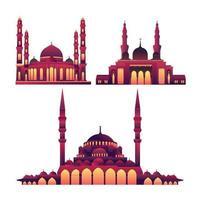illustration av islamisk ramadan tema moské lutning samling vektor
