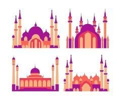 modern platt elegant islamisk moskébyggnadssamling vektor