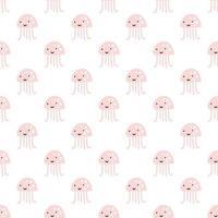 rosa bläckfisk på vit bakgrund. söt bläckfisk sömlösa mönster. marint liv och djur koncept. sjömonster, rovdjur under vattnet vektor