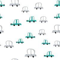Vektor Pastellfarbe Gekritzel skandinavischen Autos. nahtloses Baby-Muster. Textur für Tapeten, Füllungen, Webseitenhintergrund