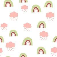 Kinderhand gezeichnetes nahtloses Muster mit bunten Pastellregenbögen und -wolken. Sommerhintergrund. Vektorillustration. Druck für Baby-Design. skandinavischen Stil vektor