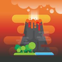 Vulkanutbrott med skogs- och havsillustration