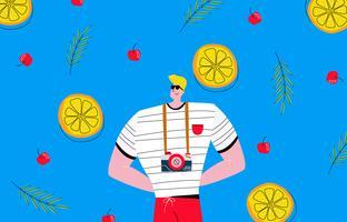 Cool Man Med Summer Beach Bakgrund Vector Illustration