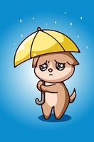 kleiner trauriger Hund unter der Regenschirmhandzeichnung vektor
