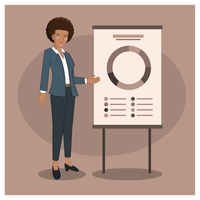 Karaktär Business Woman Presentation