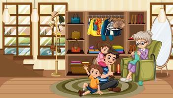 lycklig familj i vardagsrummet