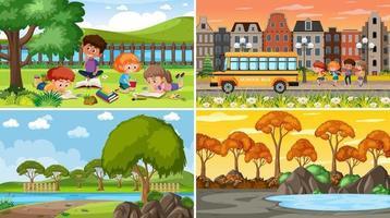 uppsättning olika natur bakgrundsscener