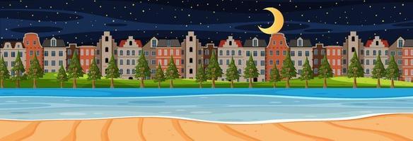 strand horisontal scen på natten med stadsbakgrund vektor