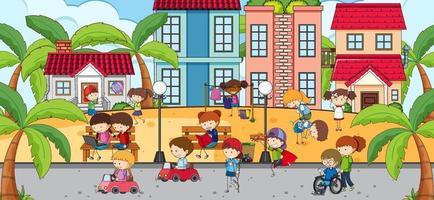Outdoor-Szene mit vielen Kindern, die im Park spielen vektor