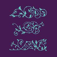 Set of Swirl Floral Luxury för dekorativ prydnad