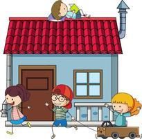 många barn gör olika aktiviteter runt huset