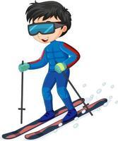 Zeichentrickfigur eines Jungen, der Ski auf weißem Hintergrund reitet vektor