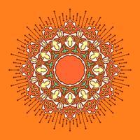 Mandala-dekorative Verzierung-orange Hintergrund-Vektor vektor