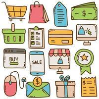 E-Commerce-Doodle-Illustrationssatz vektor