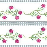 horisontella rosa blommor vektor mönster