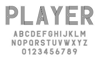 uppsättning alfabet teckensnitt bokstäver och siffror modern abstrakt design med linjer vektorillustration vektor