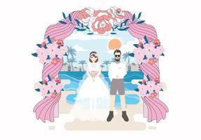 Strand-Hochzeits-Illustrations-Vektor