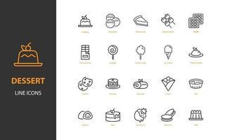 uppsättning efterrätt tunn linje ikoner, söt, bageri